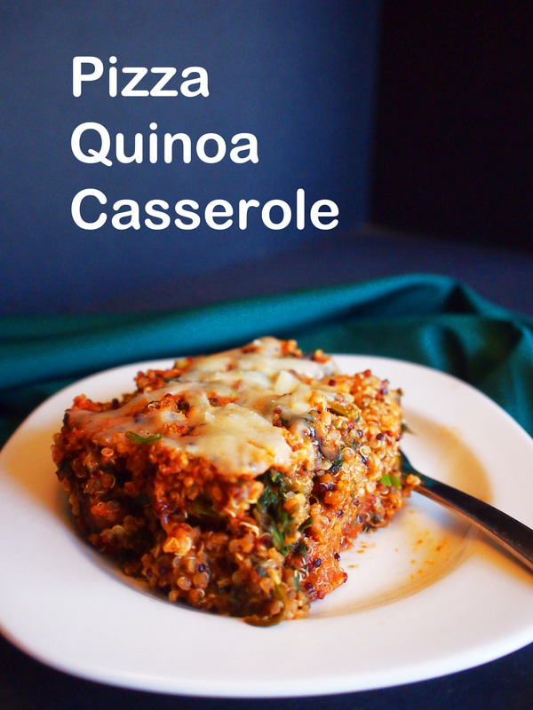 Get this potluck and family pleasing recipe for Pizza Quinoa Casserole!